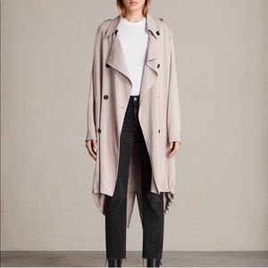 All Saints | Lia Mac Trench Coat in Blush Pink
